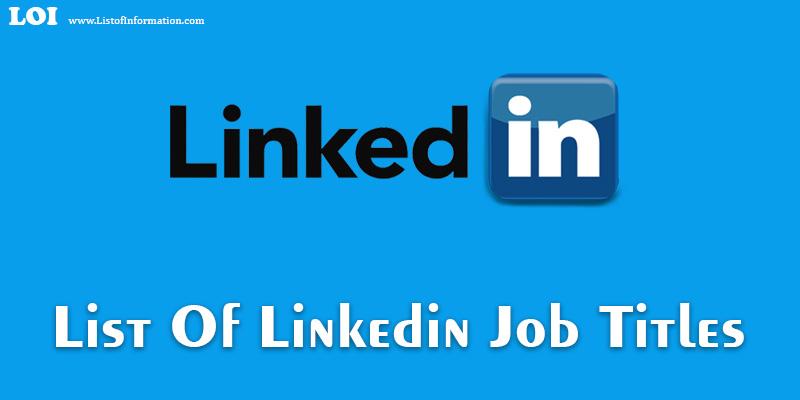Longest Jobs List Of Linkedin Job Titles